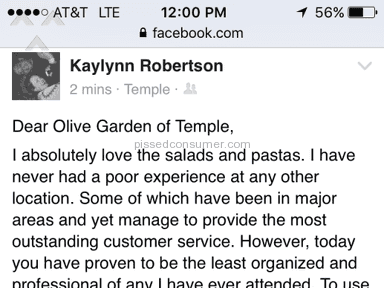 Olive Garden - Pasta Review from Copperas Cove, Texas