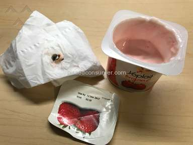 Yoplait - Strawberry Yogurt with something black inside