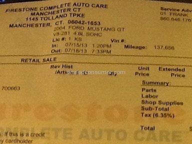 Firestone Complete Auto Care - Went to fix one thing, and left with a lot more