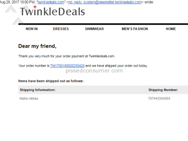 Twinkledeals - My Order never received