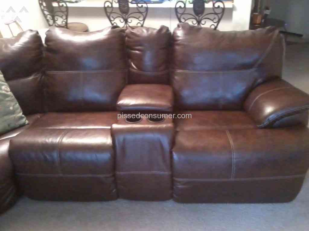 Value City Furniture Leather recliner sectional peeling