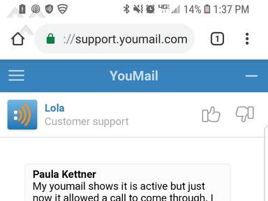 Youmail - LOLA HAS HORRIBLE CUSTOMER SERVICE. THIS PLACE HIRES RUDE PEOPLE. CHECK OUT MY CONVERSATION WITH LOLA