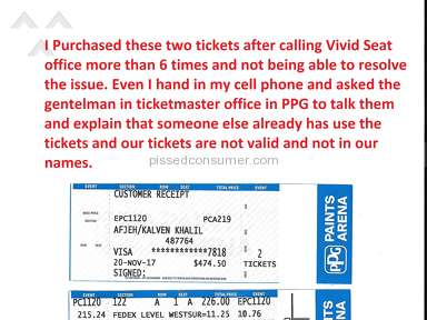 Vivid Seats - Tickets for Lady Gaga's concert in PPG Pittsburgh were used by someone else before we got there