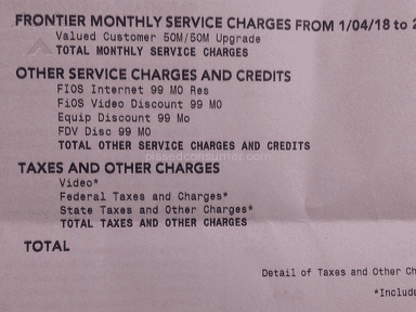 Frontier Communications - Bogus charges after cancellation