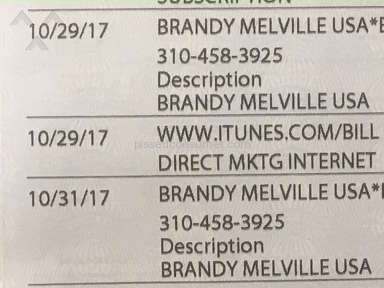 Brandy Melville - Charged for items I never got and charged twice for the ones I did get