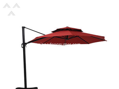 Garden Treasures Classics - Garden Treasures Red Offset Patio Umbrella (Common: 10.5-ft W x 10.5-ft L; Actual: 10.5-ft W x 10.5-ft L)