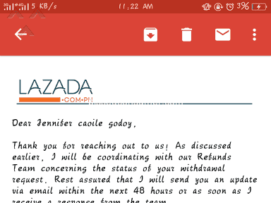 Lazada Philippines - Resending of remittance code and withdrawal request