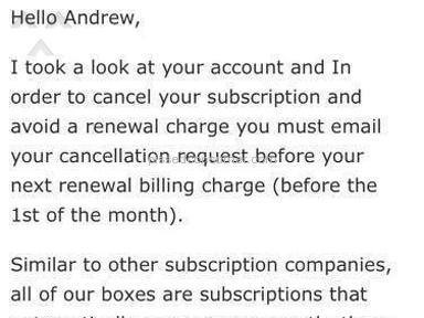 Urthbox - Condescending customer support, no refund for auto-renewal