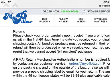 Mypillow - Misleading return policy