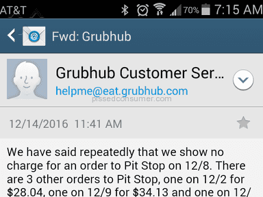 Grubhub Customer Care review 180800