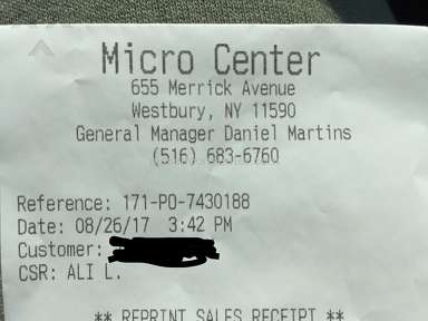 Micro Center - Worst customer service at westbury, NY- CSR - ALI L