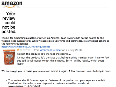 Amazon Uk - Amazon rejected my review because I am complaining about the extra charge