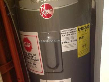Home Depot Rheem Water Heater review 221606