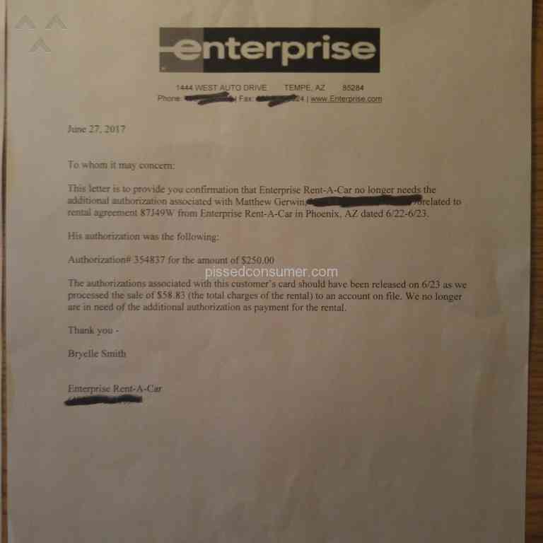 Resolved Enterprise Rent A Car Getting Nowhere With Enterprise