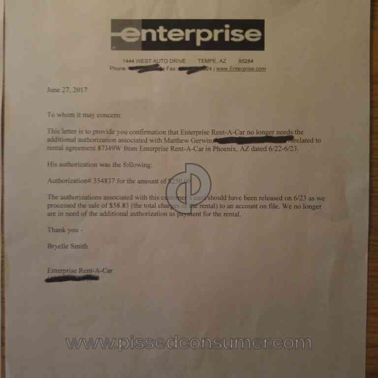 Enterprise Rental Car Feedback