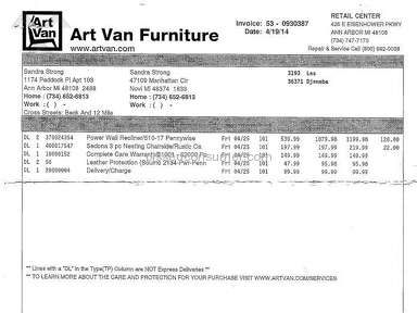 Art Van Furniture Recliner review 110471