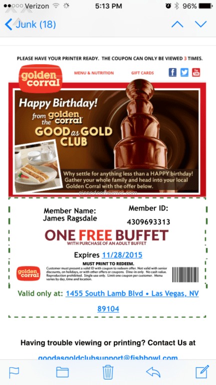 golden corral birthday club 7 Golden Corral Coupon Reviews and Complaints @ Pissed Consumer golden corral birthday club