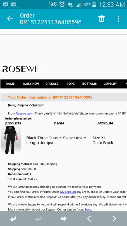 37 Rosewe Jumpsuit plaints and Reports Pissed Consumer