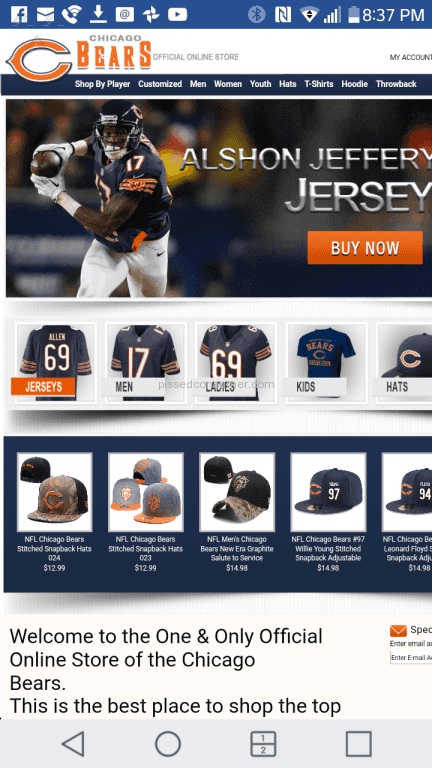 1 Chicago Bears Official Online Store Review or Complaint @ Pissed