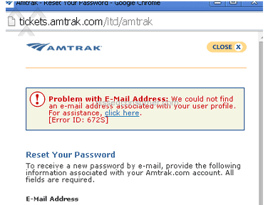 Amtrak - Register online without confirmation email, and set it to the wrong day for departure