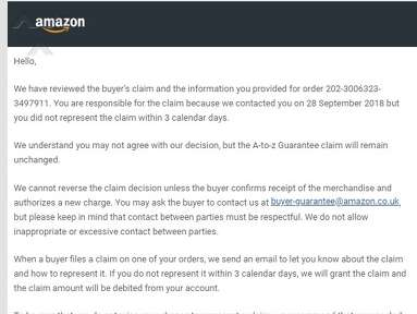 Amazon - Removing money from my account for wrongful return