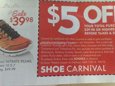Shoe Carnival - Coupon Review from Detroit, Michigan