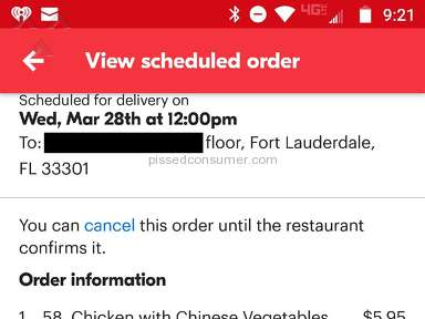 Grubhub - Botched order due to faulty app and horrible customer service