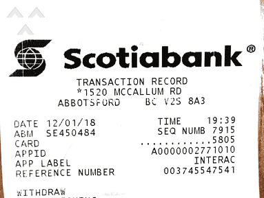 Scotiabank - Charged service fee for inoperative ATM