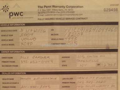 Penn Warranty Corporation - No warranty processed with payless wholesale auto in garfied new jersey