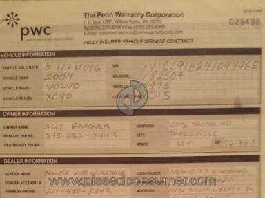 Penn Warranty Corporation Car Warranty review 168482