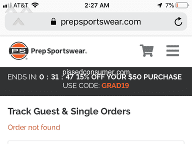 Prep Sportswear - My order number isn't working and I must cancel