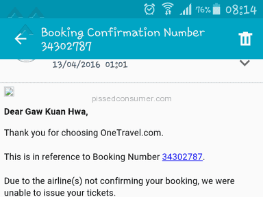 Onetravel Flight Booking Review from Singapore, Singapore