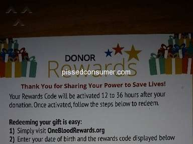 OneBlood - One Blood rewards card, cannot redeem it and cannot even contact them about it.