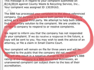 County Waste And Recycling - Terrible service and worse customer service