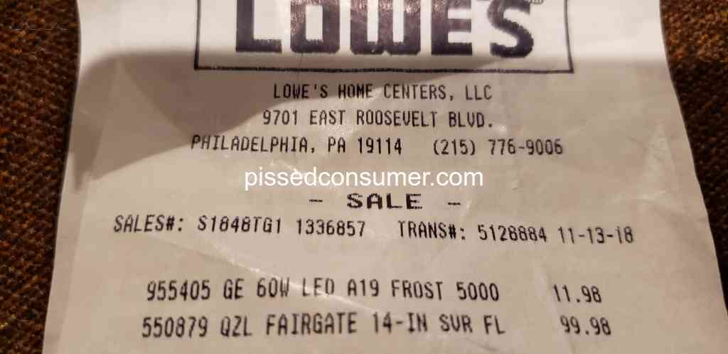 Lowes - Lowe's don't price match their own company price Nov 13