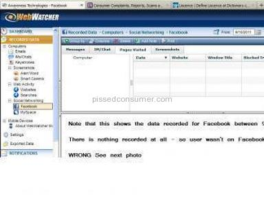 Awareness Technologies - Attached Photos to show Webwatcher is a rip off