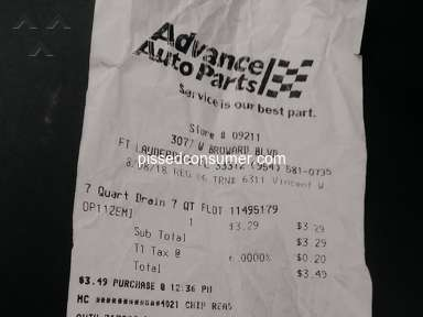 Advance Auto Parts - The worst service. Experience for a Rightful customer!
