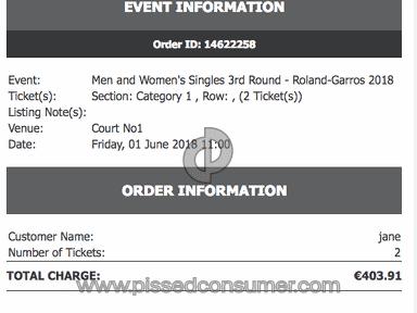 Viagogo The French Open Tennis Ticket review 293010