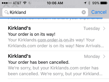 Kirklands - THE WORST ONLINE ORDERING & INCOMPETENT CUSTOMER SERVICE