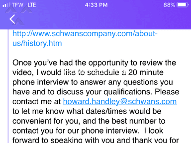 Schwans - Job recruiter complaint