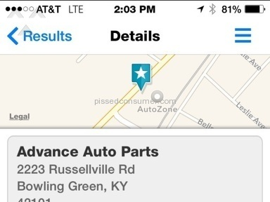 Advance Auto Parts Replacement Review from Brentwood, Tennessee