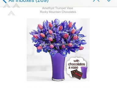 Proflowers Moms Delight With Purple Vase And Chocolates Arrangement Review from New York, New York