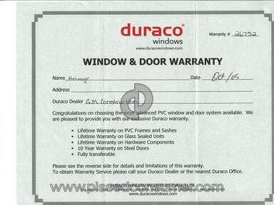 Duraco Windows - Lifetime Warranty