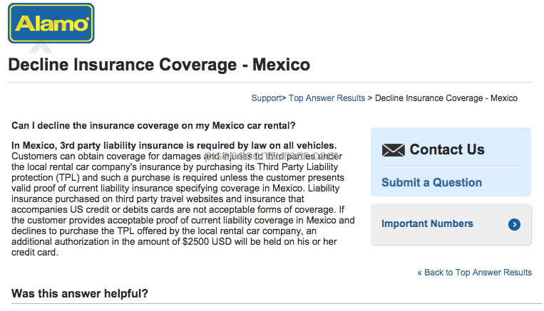 Alamo Not Honoring Their Own Requirements For Mexican 3rd Party