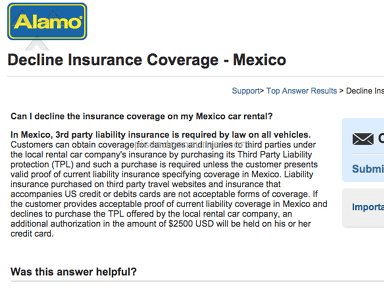 Alamo not honoring their own requirements for Mexican 3rd party liability insurance