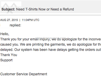 Ooshirts - Told we'd get t-shirts within 72 hours - 10 days later, nothing.