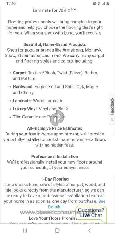 Luna Flooring Home Improvement Company, Luna Laminate Flooring Reviews