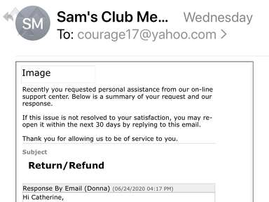 Sams Club Customer Care review 682343