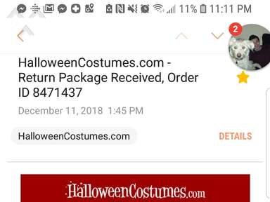 Halloweencostumes - Poor and Inadequate Return Experience