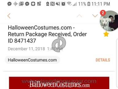 Halloweencostumes - Poor and Inadequate Return Experience